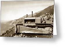 Bulldozer Working On Highway One Big Sur Circa 1930 Greeting Card
