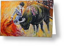 Bullfighting In Neon Light 02 Greeting Card