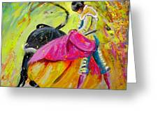 Bullfighting In Neon Light 01 Greeting Card