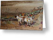 Bullock Cart On Cross Country Road  Greeting Card