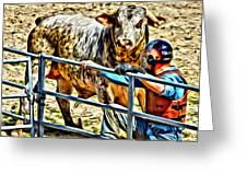 Bullrider And His Bull Greeting Card