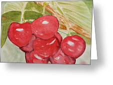 Bunch Of Red Cherries Greeting Card