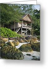 Bungalow In Koh Rong Island Beach In Cambodia Greeting Card
