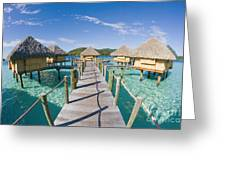 Bungalows Over Ocean Greeting Card