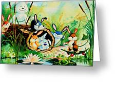 Bunnies Log And Frog Greeting Card