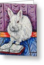 Bunny White Rabbit Reading A Book Greeting Card by Jay  Schmetz