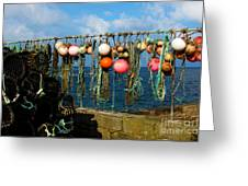 Buoys And Pots In Sennen Cove Greeting Card