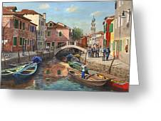 Burano Canal Venice Greeting Card