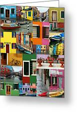 Burano Italy Collage Greeting Card