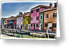 Burano Italy - Colorful Homes Greeting Card