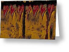 Burgandy Hearts On Gold Greeting Card