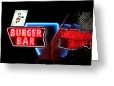 Burger Bar Neon Diner Sign At Night Greeting Card