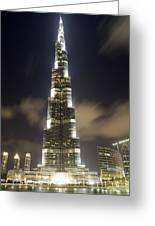 Burj Khalifa Tower In Dubai At Night Greeting Card by Nicolae Feraru