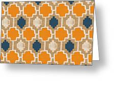 Burlap Blue And Orange Design Greeting Card