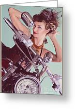 Burlesque Biker -portrait Greeting Card