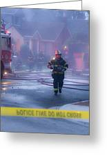 Burlingame Firemen On The Scene Of A House Fire Greeting Card