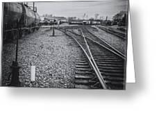 Burlington Vermont Train Yard Vintage Grunge Black And White Greeting Card