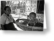 Burmese Grandmother And Grandchild Greeting Card