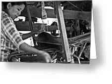 Burmese Woman Working With A Handloom Weaving. Greeting Card by RicardMN Photography