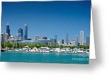 Burnham Harbor And The Chicago Skyline Greeting Card by Kristopher Kettner