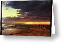 Burning Night On Siesta Key  Greeting Card