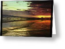 Burning Night On Siesta Key II Greeting Card by Alison Maddex