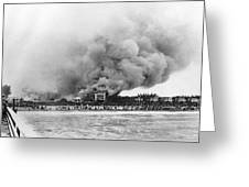 Burning Of The Breakers Hotel Greeting Card