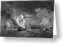 Burning Of The 'prudent' At  Louisbourg Greeting Card