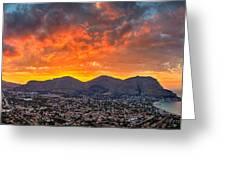 Burning Sicilian Sunset Greeting Card by Viacheslav Savitskiy