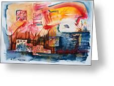Burning Sunset Greeting Card