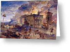 Burning Temple Of The Winds, 1856 Greeting Card