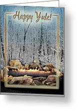 Burning Yule Log Greeting Card