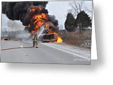 Bus Fire Greeting Card by Steven Townsend