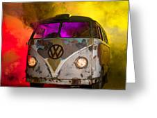 Bus In A Cloud Of Multi-color Smoke Greeting Card