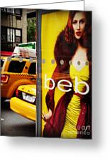 Bus Poster With Taxis - New York Greeting Card