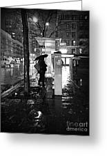 Bus Stop In The Rain Greeting Card