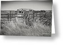 Bus Stop On Route 66 In Oklahoma In Black And White Greeting Card