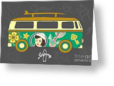 Bus With Surfboard Greeting Card