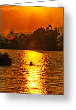Bushfire Sunset Over The Lake Greeting Card