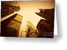 Business Architecture Skyscrapers In London Uk Golden Tint Greeting Card