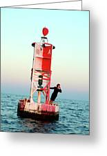 Business Woman On A Buoy Greeting Card