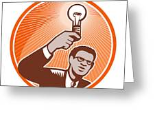 Businessman Holding Lightbulb Woodcut Greeting Card by Aloysius Patrimonio