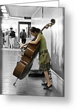 Busking Parisian Cellist Greeting Card