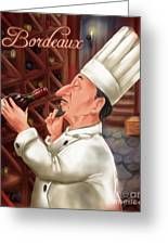 Busy Chef With Bordeaux Greeting Card