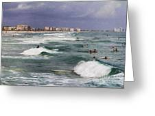 Busy Day In The Surf Greeting Card