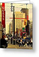Busy Downtown Toronto Morning Cross Walk Traffic City Scape Paintings Canadian Art Carole Spandau Greeting Card