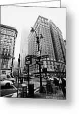 Busy Traffic Junction Of West 34th Street St And Broadway With Empire State Building Shrouded Mist Greeting Card