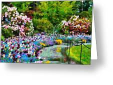 Butchart Gardens In The Rain Greeting Card