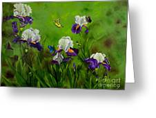 Butterflies In The Iris Greeting Card