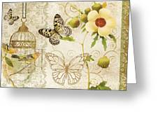 Butterfly Green Collage Greeting Card by Grace Pullen